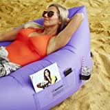 Air Lounger with bag, pockets & anchor LIFETIME WARRANTY parachute material made with heavy duty 210D waterproof PARACHUTE material blow up couch / sofa Suitable for up to 2 person (400lbs) kids & adults camping – hiking – outdoor – pool – Great furniture to use as bed / hammock / chair / mattress even FLOATS on water