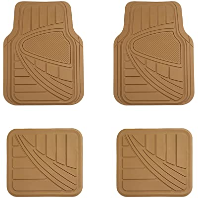 Basics 4 Piece Rubber Car Floor Mat, Beige: Automotive