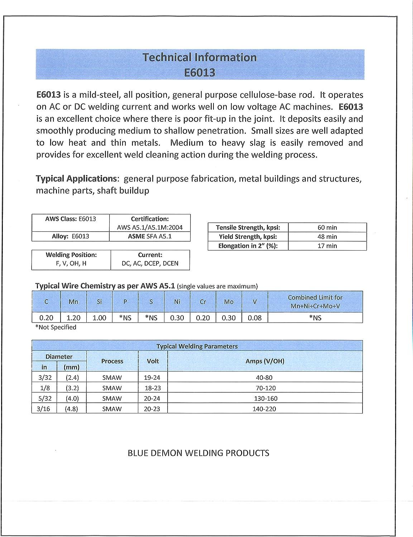 Blue Demon 6013 X 3//32 X 14 X 5LB Plastic General Purpose Carbon Steel Electrode