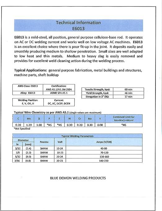 Blue Demon 6013 X 1 16 X 14 X 40lb Carton General Purpose Carbon Steel Electrode Brazing Rods Amazon Com