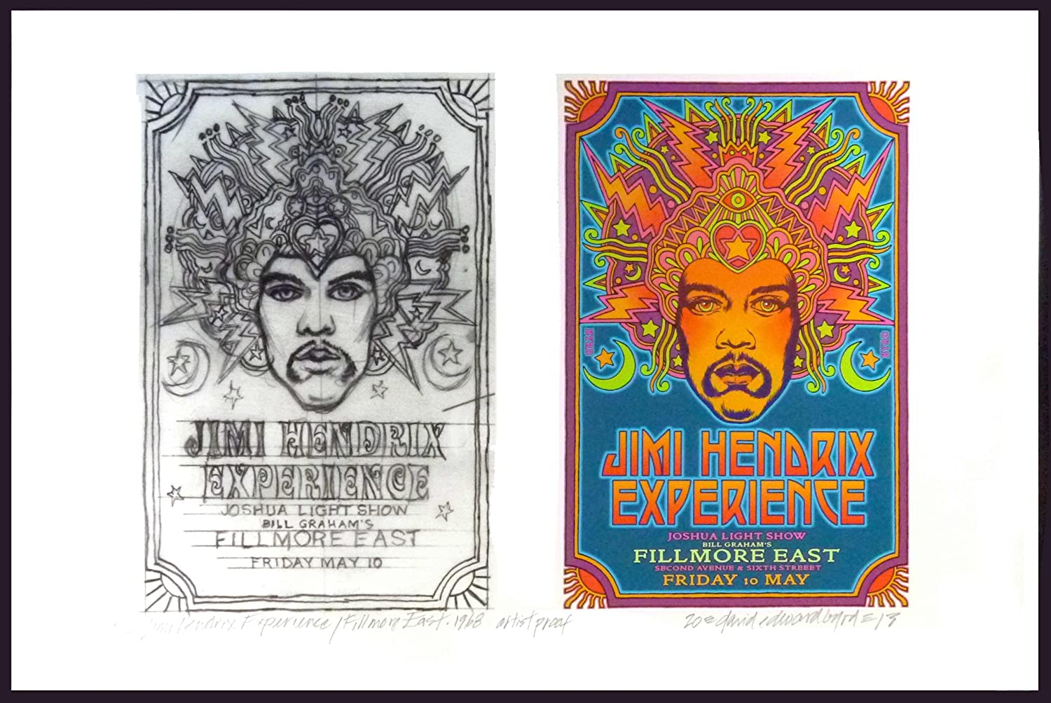 Jimi Hendrix '68 Fillmore East Early Poster Idea & Sketch Signed David Byrd
