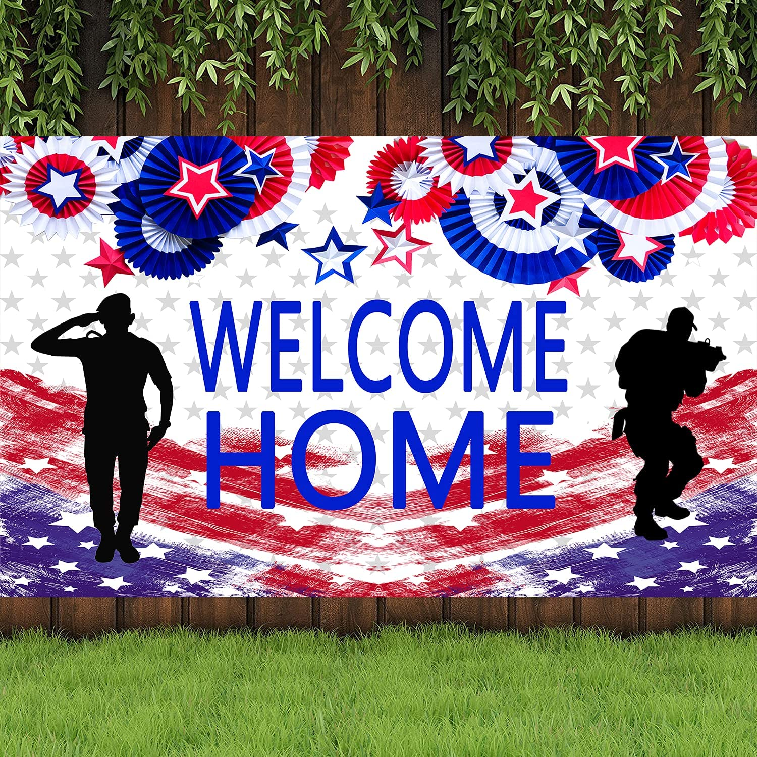 4x6FT American Flag Patriotic Soldier Welcome Home Backdrop Photography,Patriotic Theme Deployment Returning Back Military Army Homecoming Party Decoration (Welcome Home)