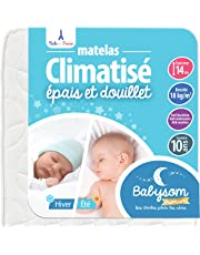 Babysom - Matelas Bébé Climatisé Eté/Hiver - Epaisseur 14cm - Anti acarien - Fabrication francaise - Garantie 10ans
