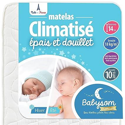 Babysom - Matelas Bébé Climatisé Eté/Hiver - 60 x 120cm - Epaisseur 14cm - Anti acarien - Fabrication francaise - Garantie 10ans
