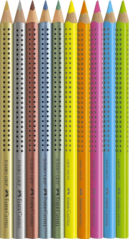 Faber-Castell 110940 10er Etui Jumbo Grip Malset neon metallic