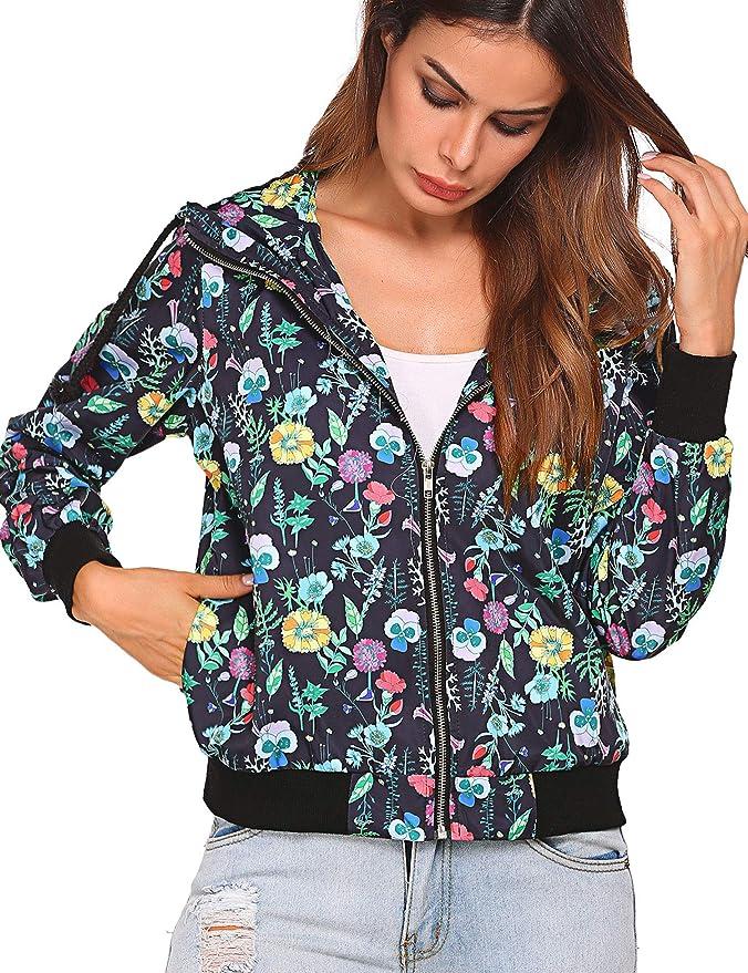 18a81a01753 BEAUTEINE Women Floral Print Jackets Lightweight Hooded Zip Up Short Bomber  Jacket Coat at Amazon Women s Coats Shop