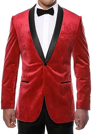 c42f14bc77b Amazon.com: ENZO Red Velvet 44L Tuxedo Blazer with Satin Shawl Lapel:  Clothing