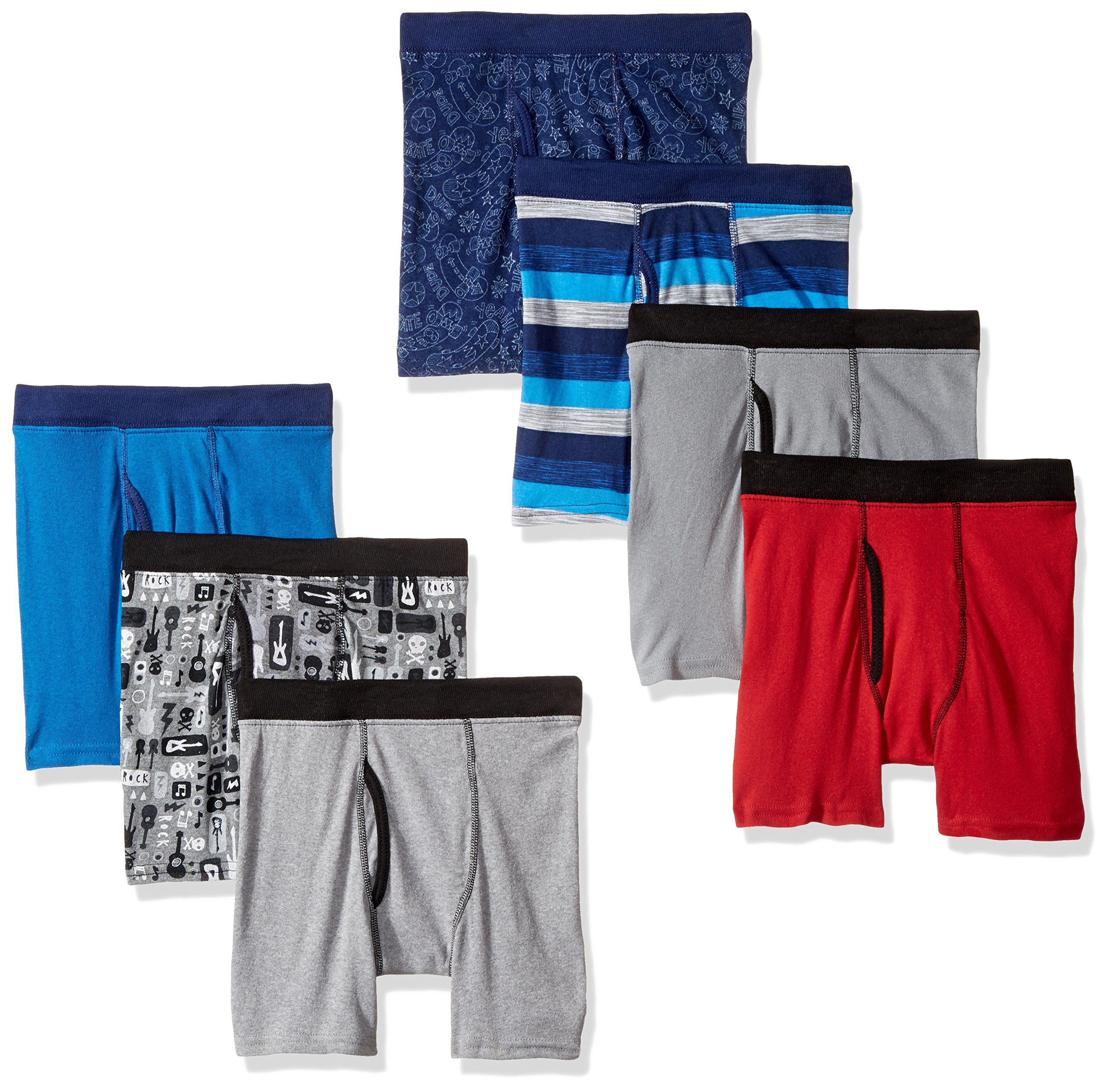 Hanes Big Boys' Red Label Comfortsoft Printed Boxer Briefs Pack of 7, Assorted, XL