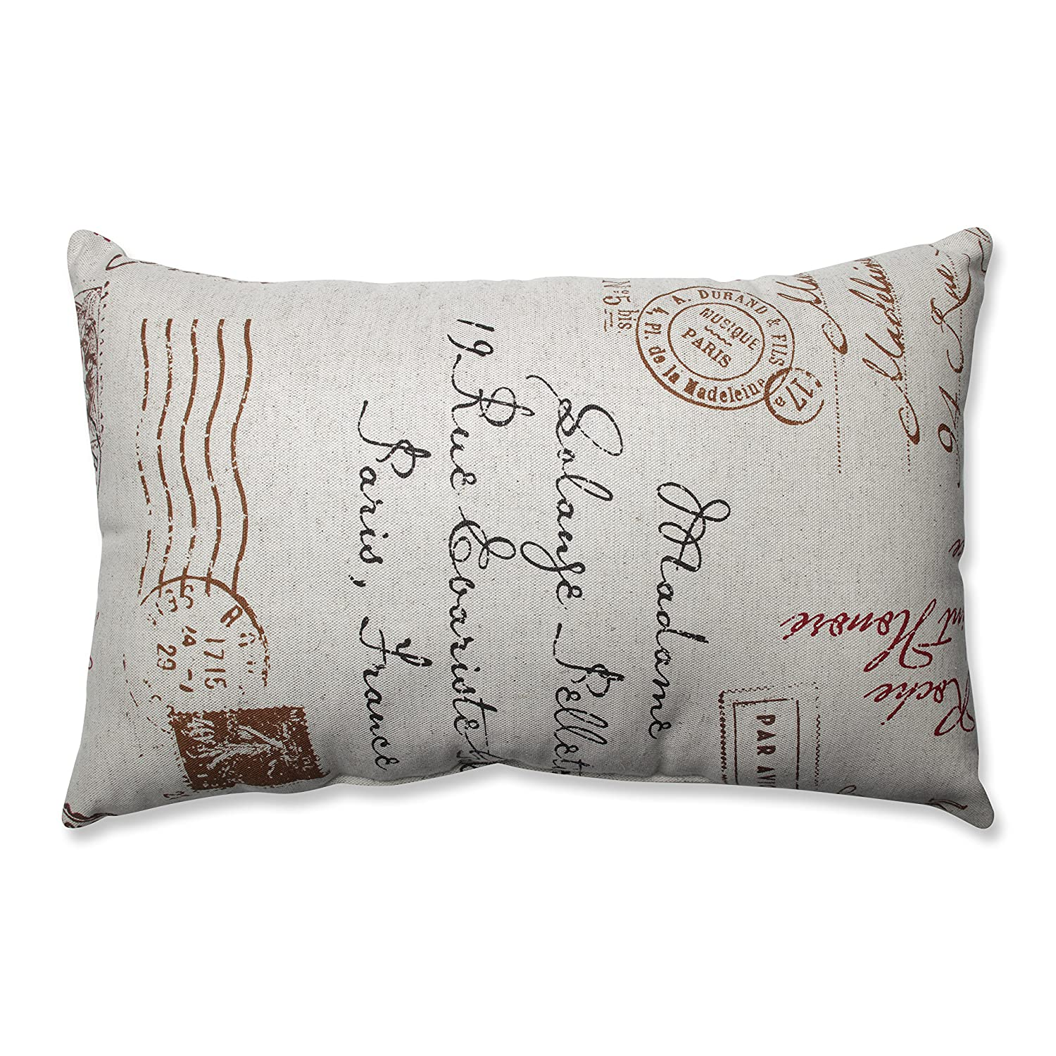 Amazon.com: Pillow Perfect Linen/Red French Postale Rectangular ...