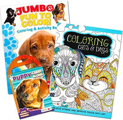 Amazon.com: Puppies And Kittens Coloring Book Super Set (3 Coloring Books  With Cats And Dogs Stickers): Toys & Games