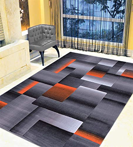 HR-Electric Orange Grey Silver Black Abstract Area Rug Modern Contemporary Geometric Cube and Square Design Pattern Carpet 7 8 X10