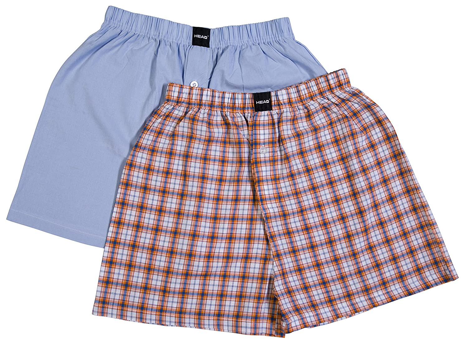 Blue//Orange Checks Head Mens 2-Piece Woven Cotton Boxers S