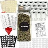 Talented Kitchen 24 Glass Spice Jars w/2 Types of Preprinted Spice Labels. Commercial Grade, Complete Set: 24 Square…