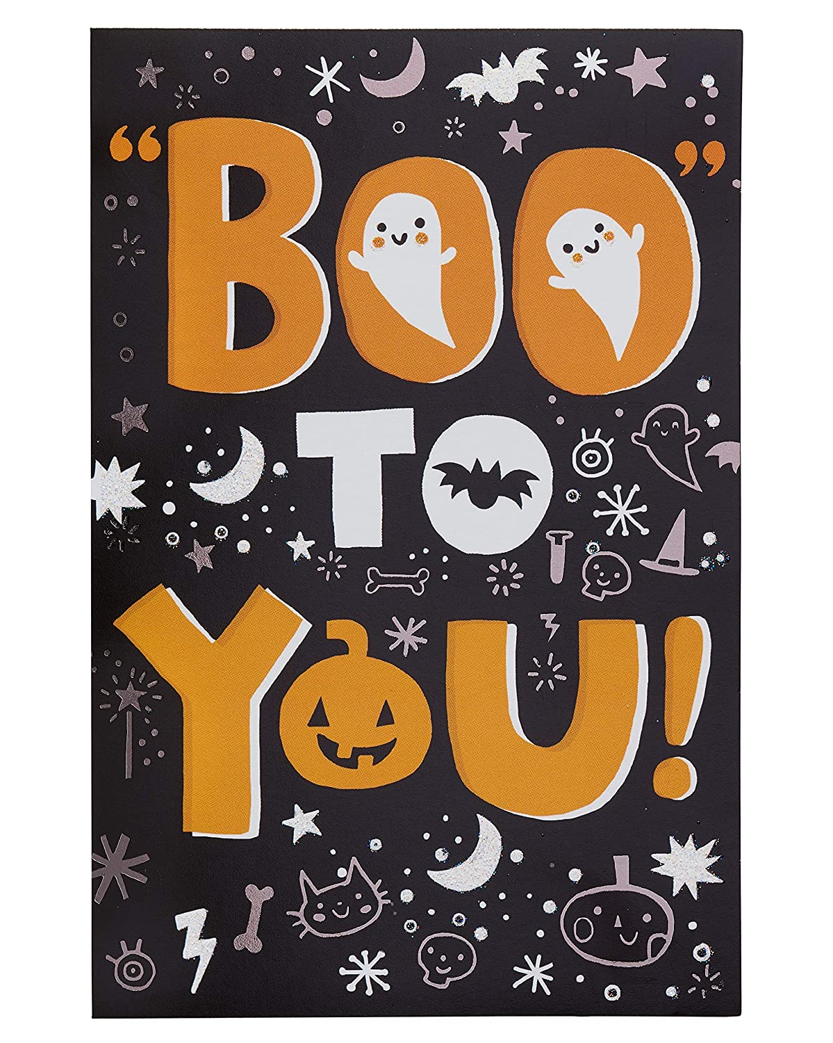 Carlton Cards Boo Halloween Card with Glitter, 6-Count 6130244