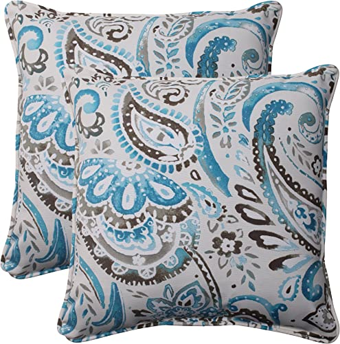 Pillow Perfect Outdoor Paisley Corded Throw Pillow, 18.5-Inch, Tidepool, Set of 2