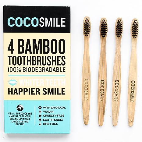 Cocosmile de bambú natural del cepillo de dientes - Soft de carbón Cerda, 100% biodegradable, respetuoso del medio ambiente, vegano, libre de crueldad (1 ...