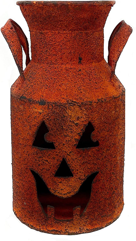 "Gerson Halloween Metal Lantern Luminary Milk Can Rustic Burnt Orange Indoor Outdoor Decoration Jack-O-Lantern 8.5"" (Triangle)"