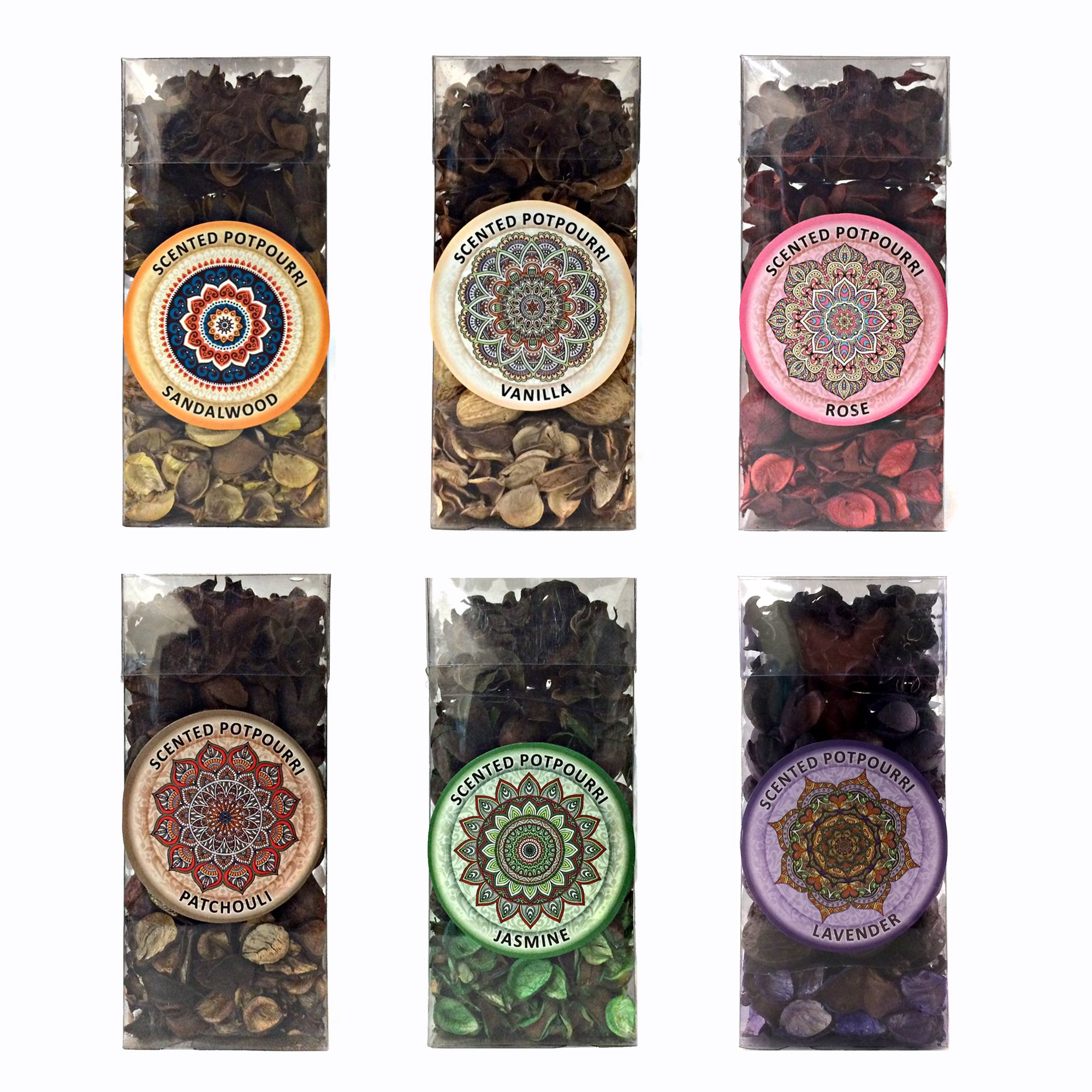 Six Pack Gift set of Potpourri Six Pack Includes one of each scent, Vanilla, Lavender, Rose, Jasmine, Sandalwood, Patchouli