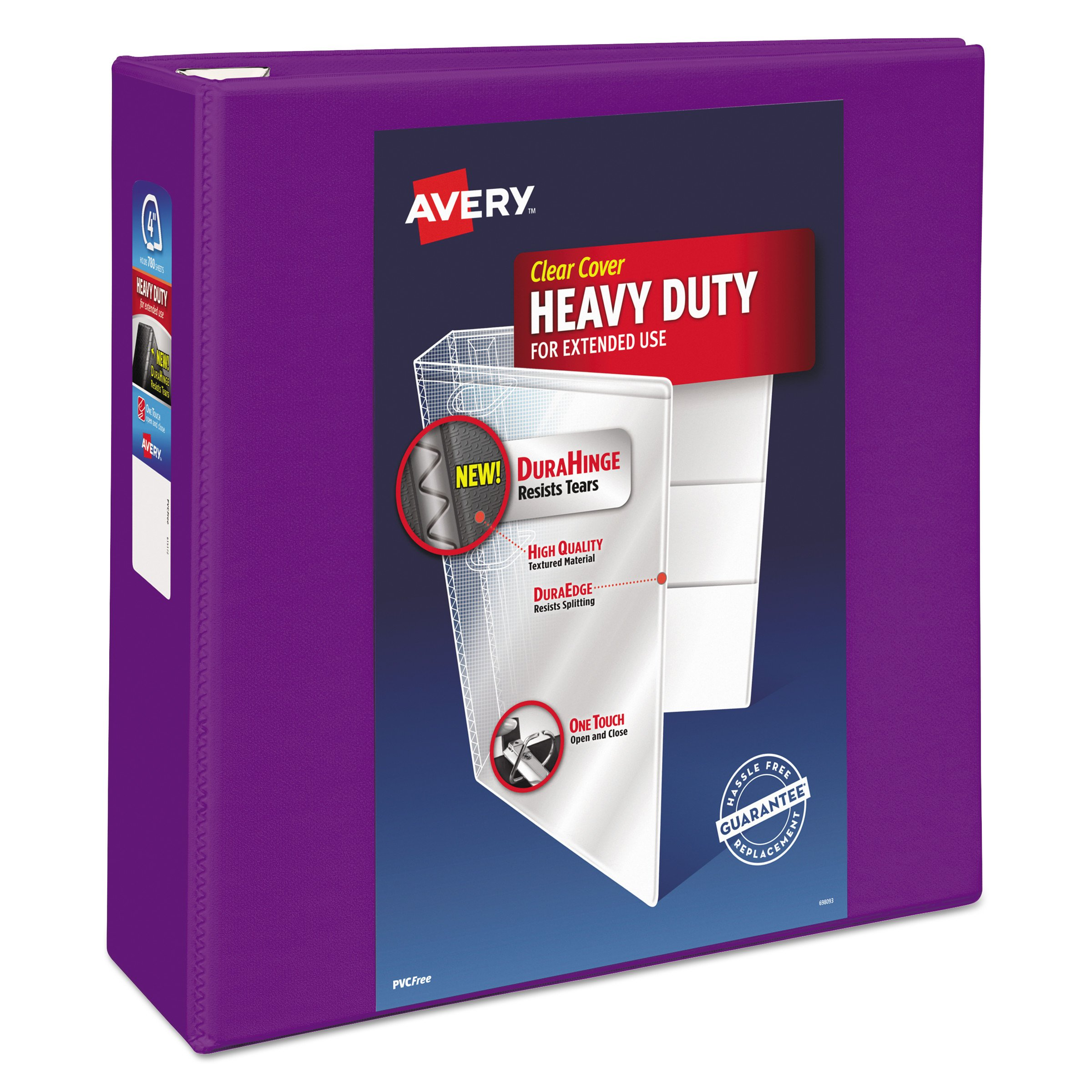 Avery Heavy-Duty View Binder with 4'' One Touch EZD Rings, Purple (79813)