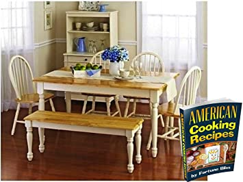 Fortune Bliss Wooden Dinette Table With 4 Chairs, One Country Bench And  EBook, Set