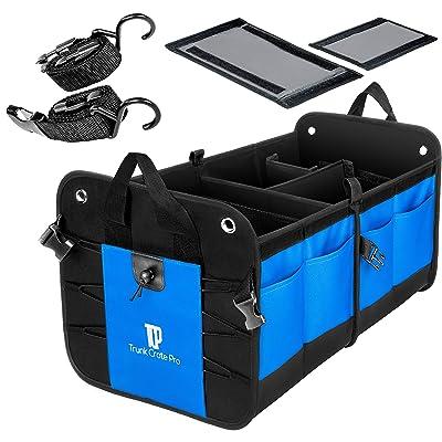 TRUNKCRATEPRO Collapsible Portable Multi Compartments Heavy Duty Non-Slip Cargo Trunk Organizer Storage, Blue: Automotive