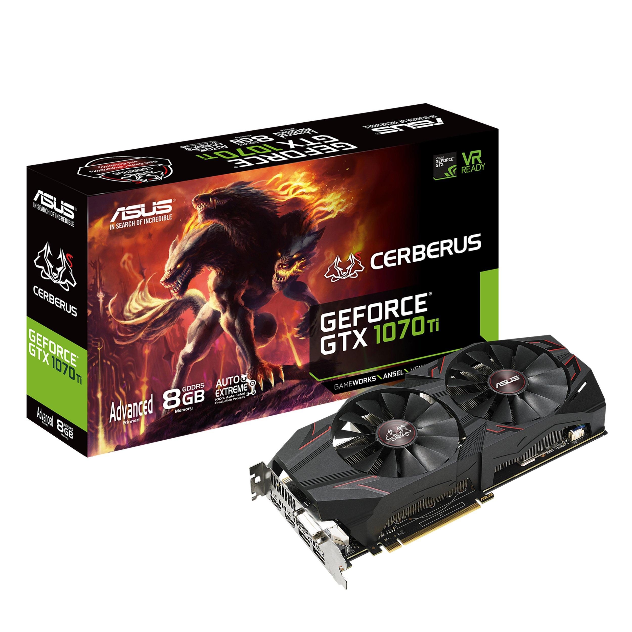 ASUS Cerberus GeForce GTX 1070 Ti 8GB GDDR5 Advanced Edition VR Ready DP HDMI DVI Gaming Graphics Card (CERBERUS-GTX1070TI-A8G-GAMING)