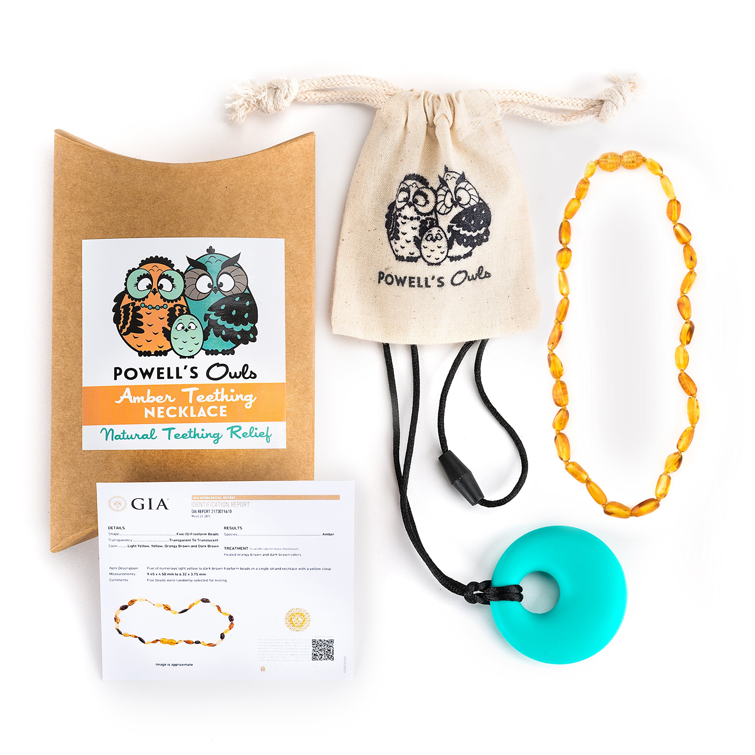 Baltic Amber Necklace Gift Set (Unisex - Honey - 12.5 Inches) Plus FREE Silicone Pendant ($15 Value) Handcrafted, Lab-Tested, Authentic Amber - Natural Pain Relief
