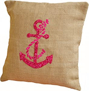 Amore Beaute Handmade Custom Burlap pillows- Throw pillow covers with Hot Pink anchor embroidery- Nautical pillow covers- Anchor pillows- Embroidered pillows- Beach décor pillow covers