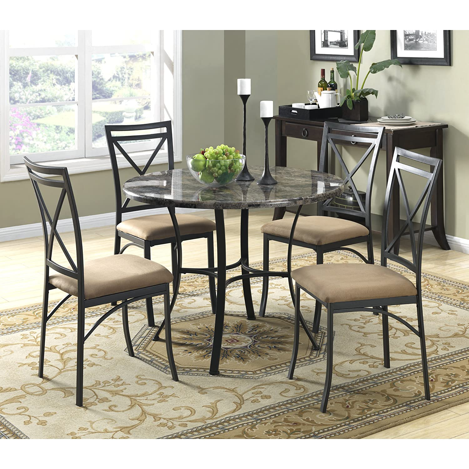 Amazon.com   Dorel Living Faux Marble Top Dining Table Set   Table U0026 Chair  Sets