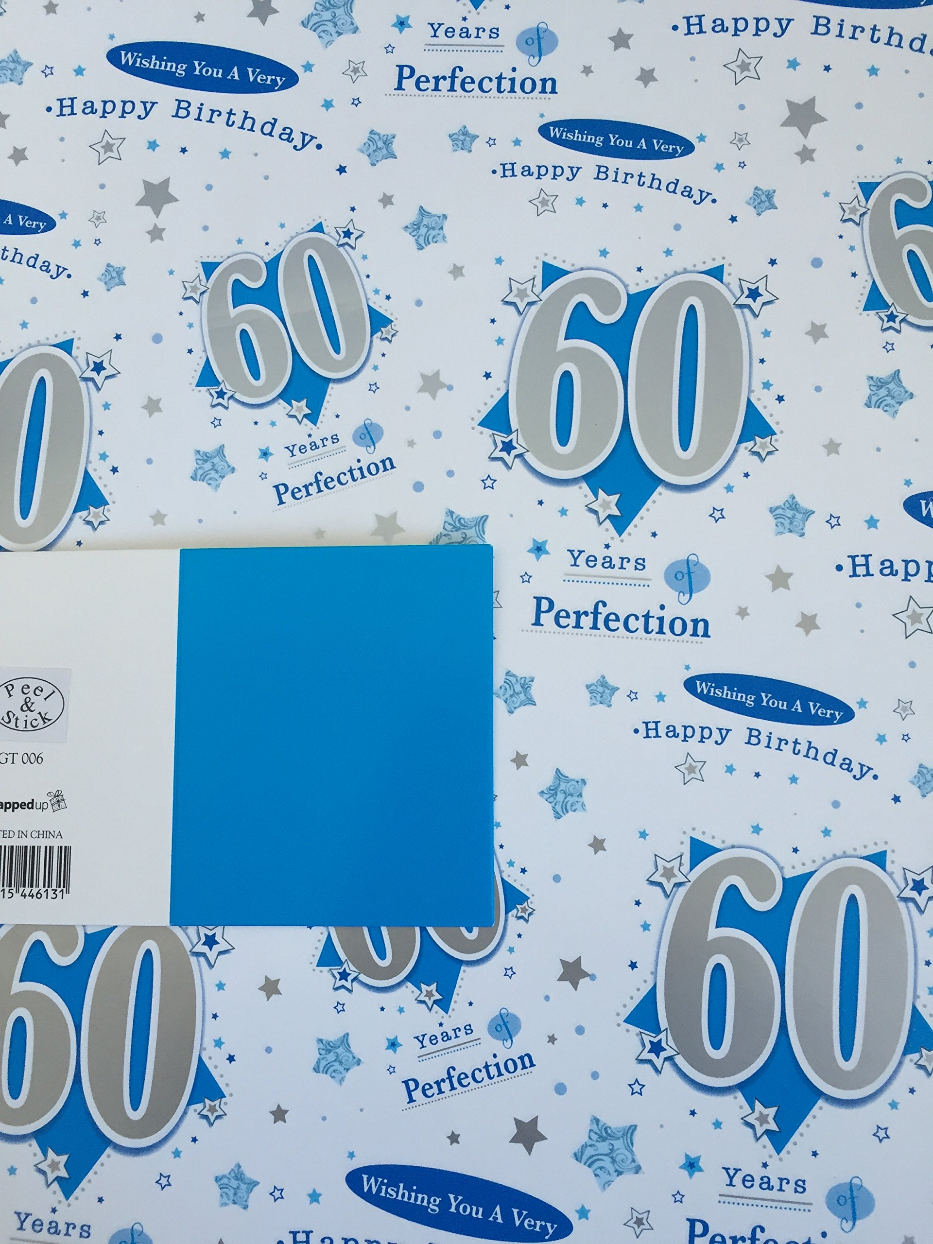 60th Birthday Gift Wrapping Paper 2 Sheets And Tag