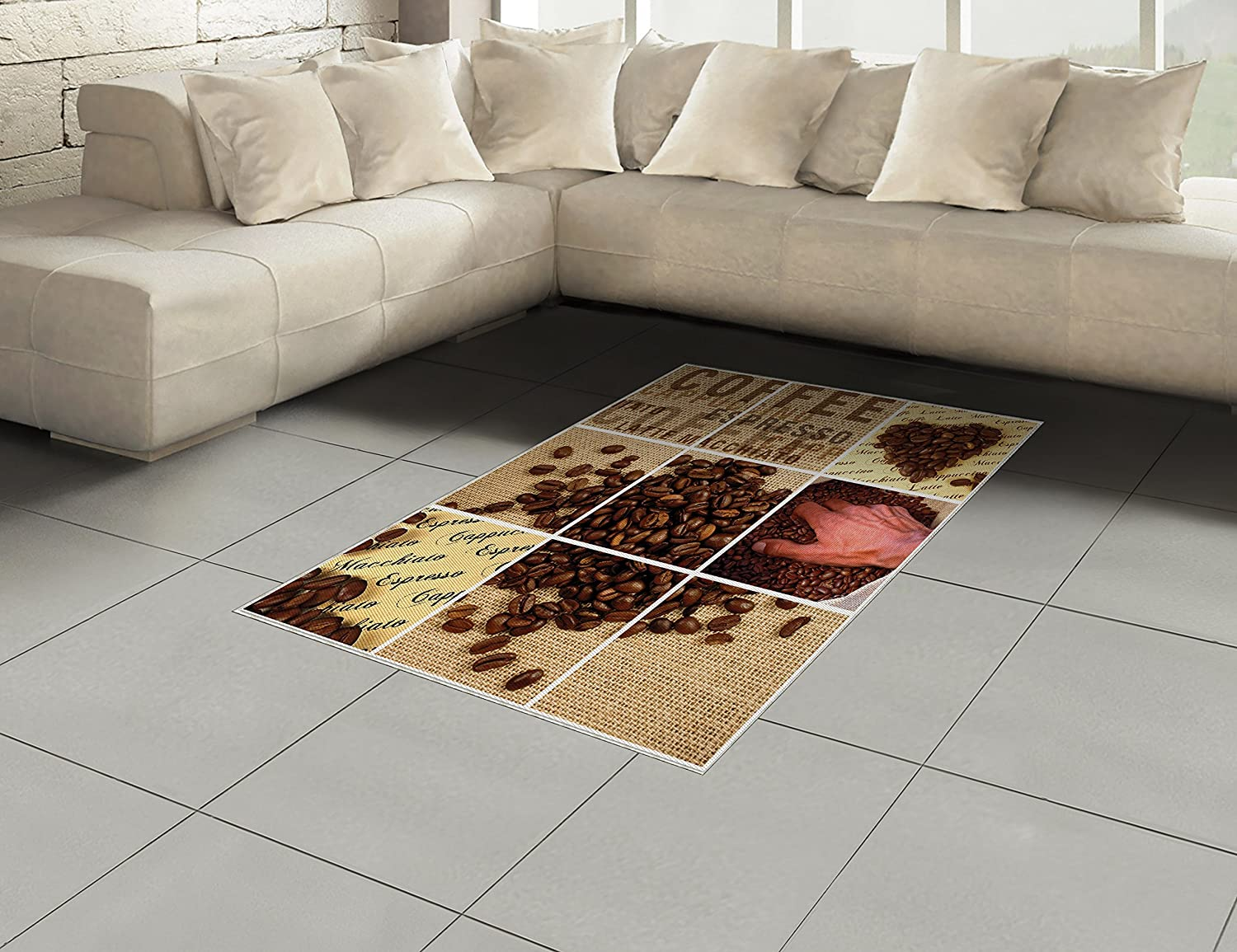 Amazon.com: Lunarable Brown Area Rug, Coffee Beans Heart ...