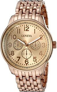 Geneva Womens FMDM182C Analog Display Japanese Quartz Rose Gold Watch