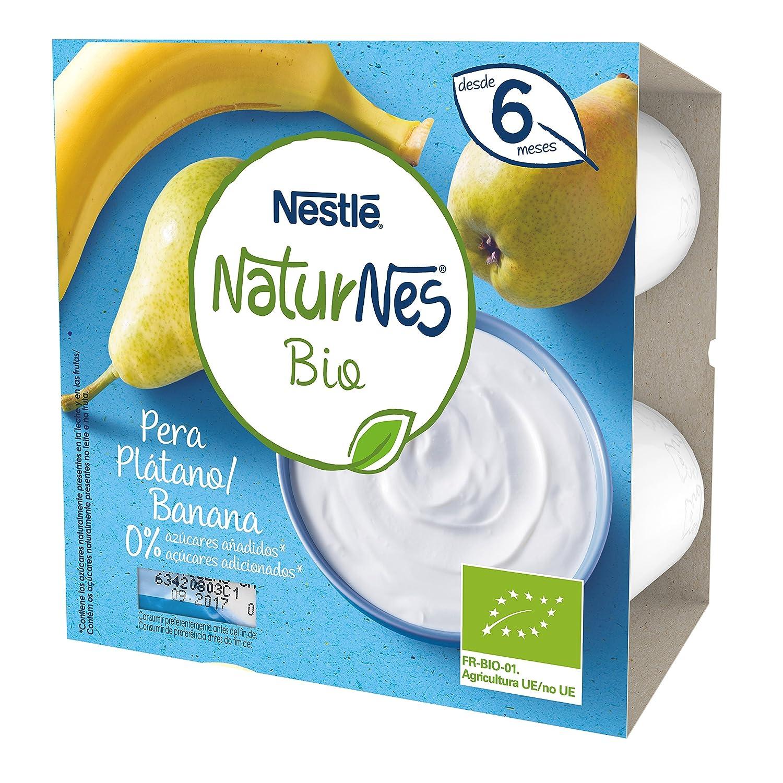 Nestlé Naturnes Bio - Postre lácteo Pera y Plátano - Postre lácteo Para bebés - Paquete de 6x4 unidades de 90g: Amazon.es: Alimentación y bebidas