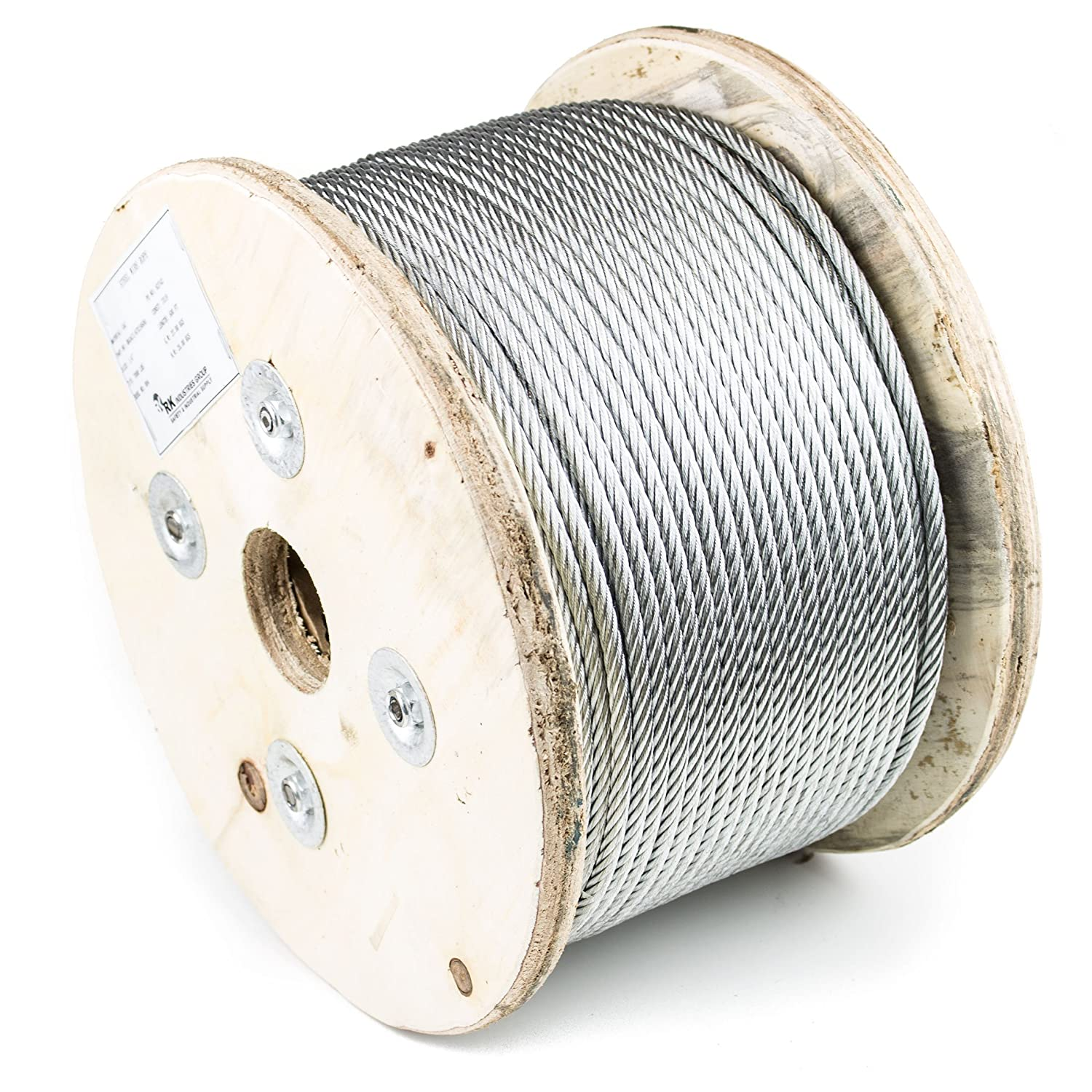 RK Wire Rope, 7x19 Galvanized Aircraft Steel Cable, 1/4-Inch, 500 ...