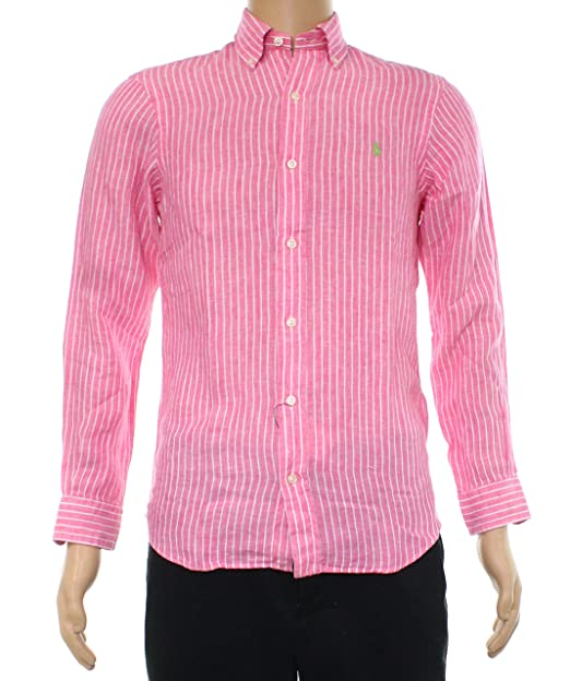 b1f5195640 Polo Ralph Lauren Men's Ocean Washed Linen Striped Button Down Long Sleeve  Shirt, Pink/