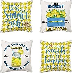 pinata Lemon Summer Pillow Covers 18x18'' Yellow Blue Buffalo Plaid Decorative Throw Pillow Cases Set of 4 for Outdoor Patio Livingroom Couch Sofa, Farmhouse Linen Nautical Beach Home Decor(no Insert)