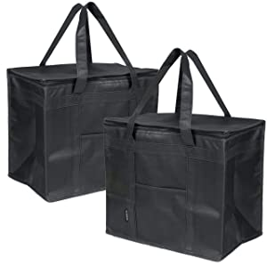 XL Insulated Reusable Grocery Bags for Food Delivery Pack of Two - Foldable - Ideal for Uber Eats, Instacart, Doordash, Grubhub, Postmates, Restaurant, Catering, Grocery Transport by Ateny Bags