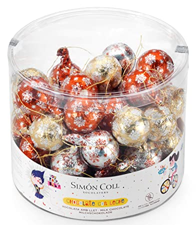 Simón Coll Hollow Christmas Snowflake Chocolate Ornament | 50 Chocolate Ornaments per drum | 300g per