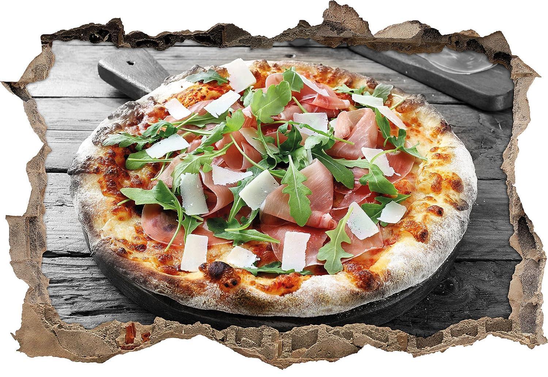 Prosciutto Pizza con rucola e parmigiano su tavola di legno rustico B & W dettaglisvolta a muro in look 3D, parete o formato adesivo porta: 92x62cm, autoadesivi della parete, autoadesivo della parete, decorazione della parete Stil.Zeit