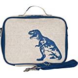 SoYoung Raw Linen Dinosaur Lunch Box, Blue