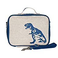 SoYoung Lunch Bag - Raw Linen, Eco-Friendly, Retro-Inspired and Easy to Clean (Blue Dinosaur)