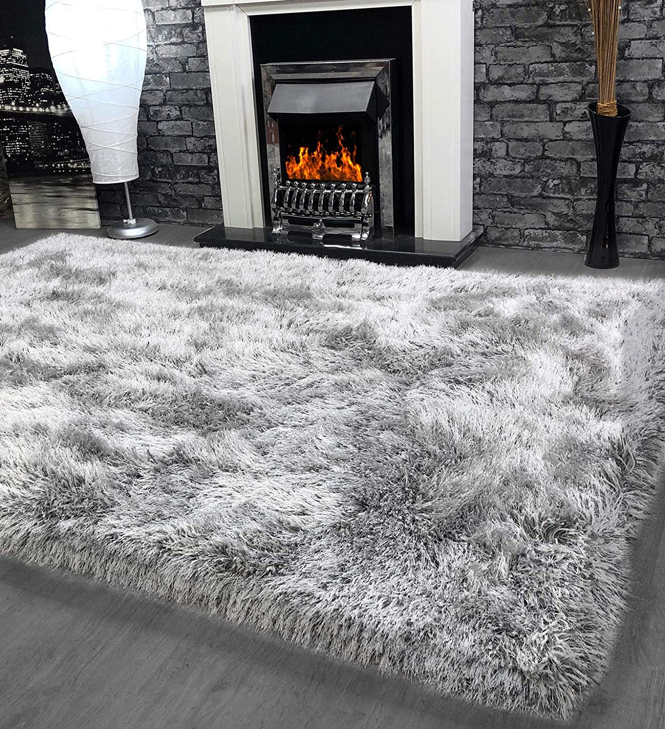 9cm Shaggy Silver Grey 120x170cm Super Plush Soft Touch Shag Pile Rug 90mm Pile Stain Resistant Quality Bedroom Decor Accessories Fluffy 100 Polyester Living Room Rugs Amazon Co Uk Kitchen Home