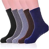 Men's 6 pairs Solid Color Super Soft Cozy Fuzzy Winter Warm Crew Socks