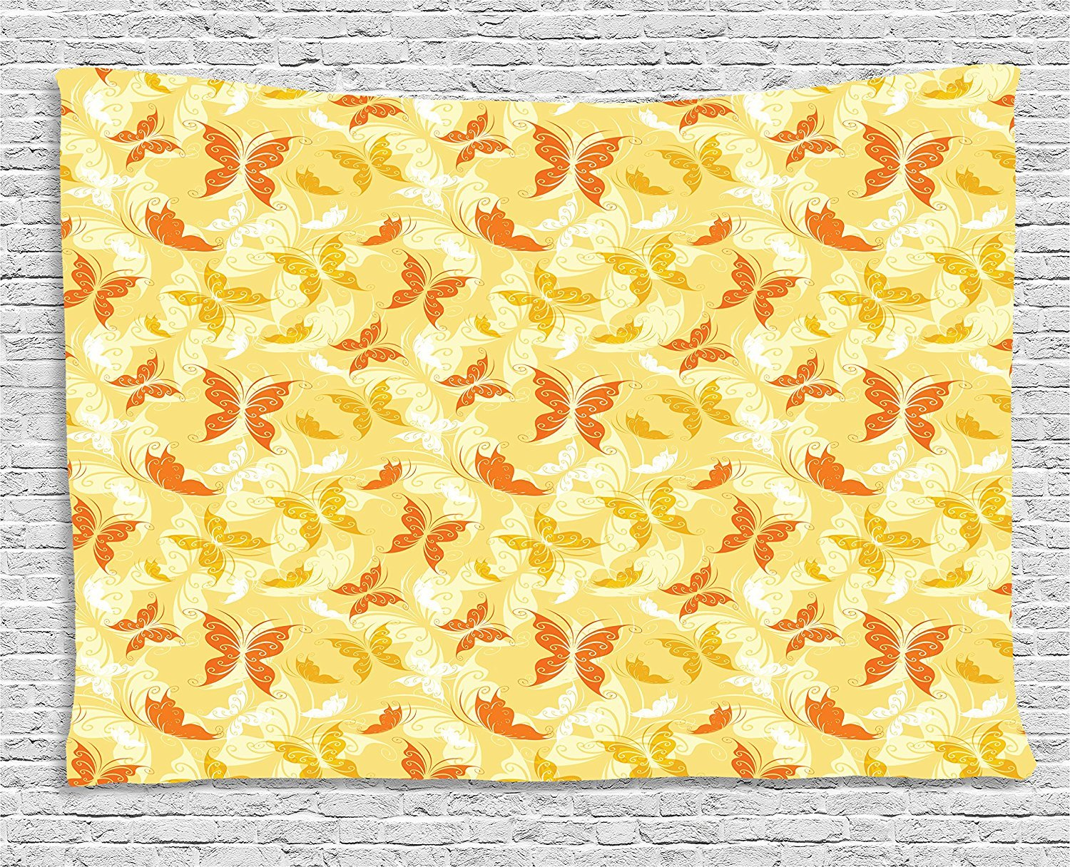Yellow and White Tapestry, Butterfly Pattern with Swirls Romantic Animals of Spring, Wall Hanging for Bedroom Living Room Dorm, 80 W X 60 L Inches, Orange Yellow Earth Yellow