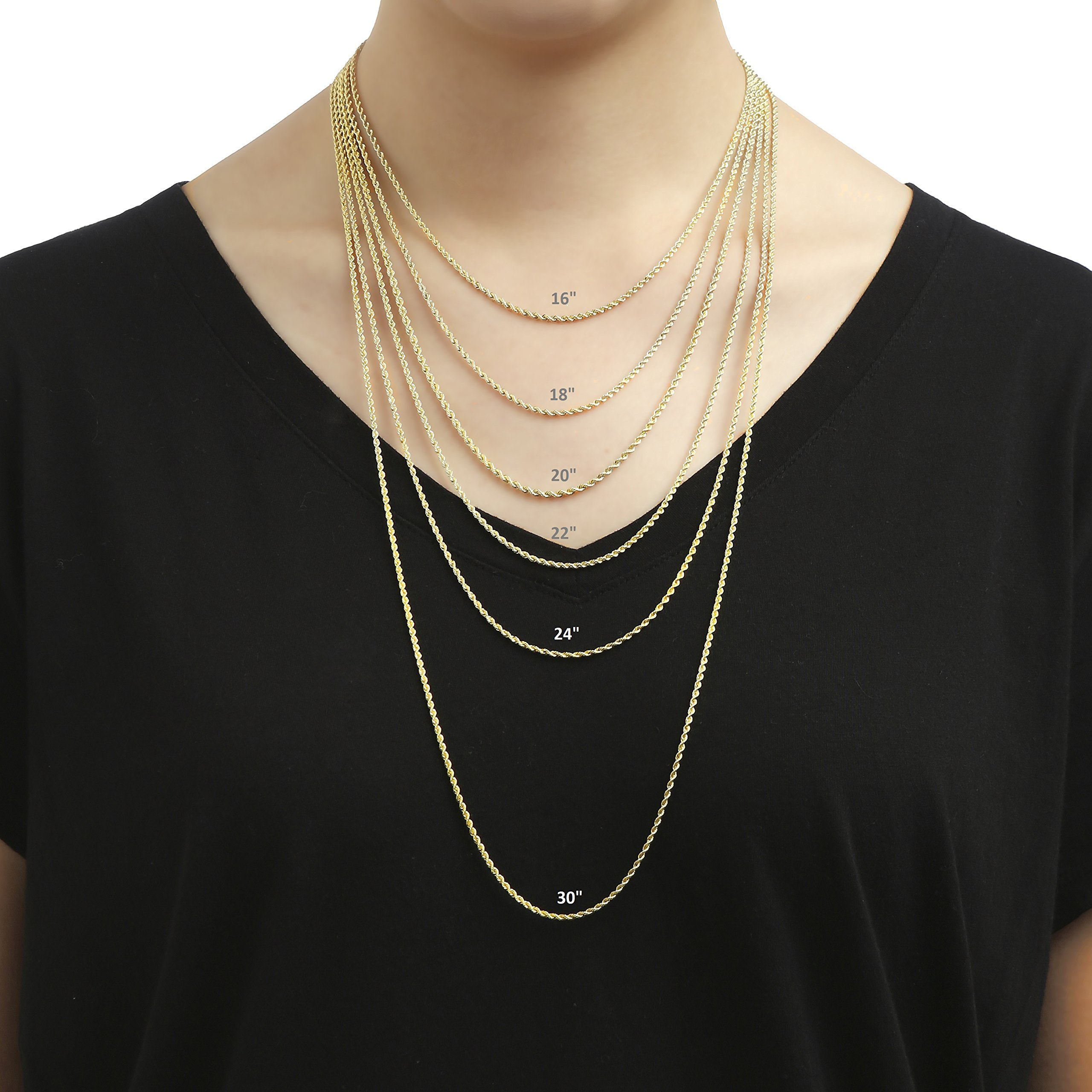 18 Inch 10k Yellow Gold Hollow Rope Chain Necklace with Lobster Claw Clasp for Women and Men, 2mm by SL Chain Collection (Image #7)