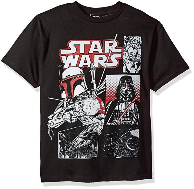 57878c70c Star Wars Boys' Big Boba Vader Trooper Comic Pop Logo Graphic Tee, Black,