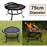 east2eden Black Steel 75cm Patio Heater Garden Firepit Fire Pit Barbecue Barbeque BBQ with Poker