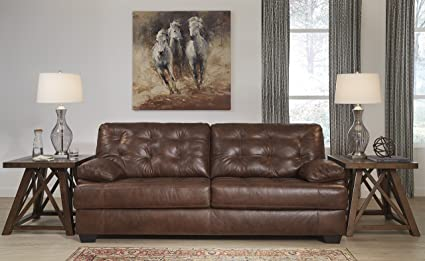Amazon.com: Mindaro Contemporary Leather Canyon Color Sofa ...