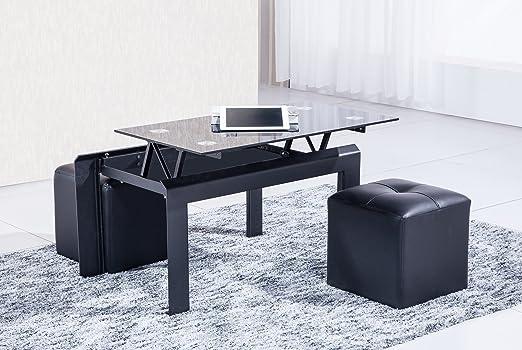 Mesa o mesita de centro negra elevable y con cristal negro de salón comedor. 90x58cm: Amazon.es: Hogar