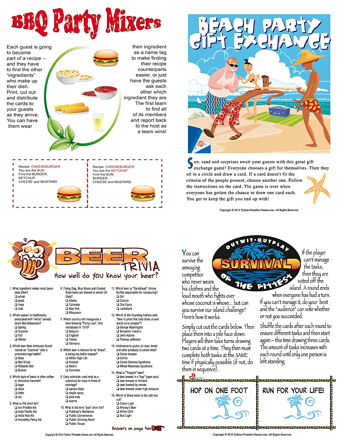 graphic about Printable Party Games known as : Printable BBQ Occasion Game titles Pack for Mac [Obtain